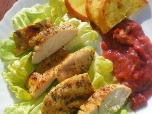 Kurczak grillowany z rabarbarowym musem