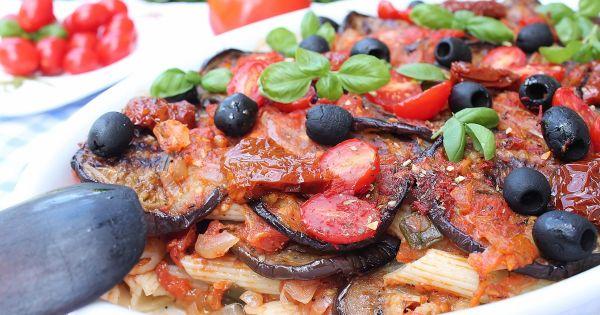 Pomidory z bakłażanem zapiekane