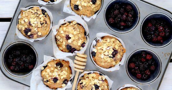 Muffiny owsiane z jeżynami dla aktywnych