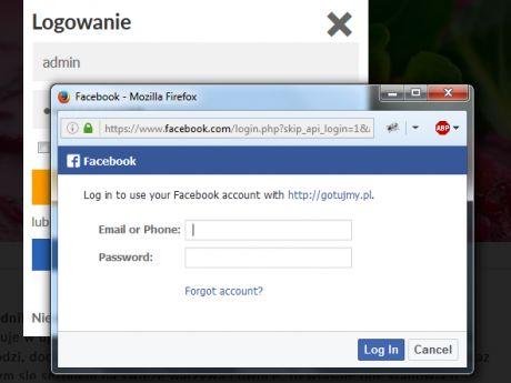 Okno logowania - Facebook