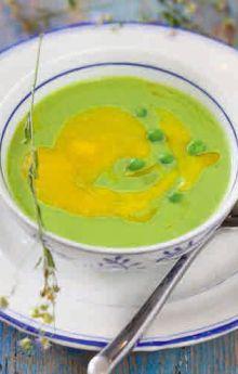 Zupa krem z zielonego groszku z musem z mango