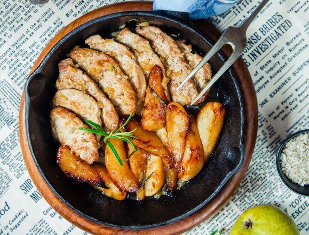 Polędwiczki wieprzowe z karmelizowaną gruszką
